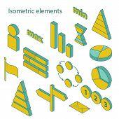 Set of isometric business elements