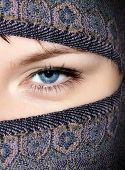 picture of burqa  - Face of a beautiful blue eyed girl covered with burqa - JPG