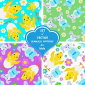 Set Of Vector Patterns With Rabbits, Flowers And Chickens