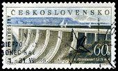 Vintage  Postage Stamp.  Dam Power Station And Reservoir.