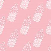 Bottle Of Milk Seamless Pattern