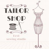 stock photo of tailoring  - Vintage iron mannequin - JPG