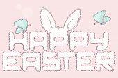 Happy Easter Fur Inscription. Hand Drawn Headline