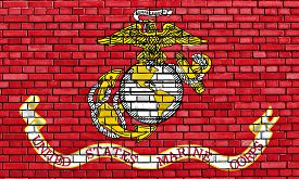 foto of corps  - flag of United States Marine Corps painted on brick wall - JPG