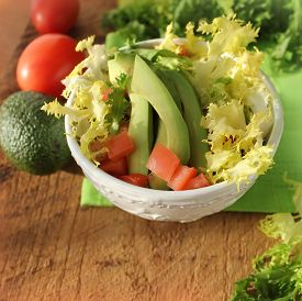 picture of endive  - fresh salad with avocado - JPG