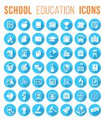 stock photo of citizenship  - Set of blue round flat monochrome silhouette vector icons of school subjects education and science symbols - JPG