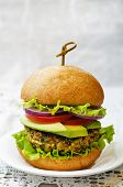 foto of millet  - spicy vegan curry burgers with millet chickpeas and herbs - JPG