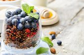 image of quinoa  - oatmeal nuts quinoa granola with blueberries on a white wood background - JPG