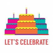 picture of three tier  - Set Of Colorful Stack Cakes With Candles On White Background Vector Illustration - JPG