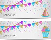 image of party hats  - two colorful party banner with ice cream and a party hat - JPG