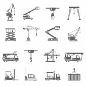 image of heavy equipment  - Lifting equipment and heavy industrial machines black icons set isolated vector illustration - JPG
