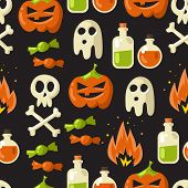 stock photo of skull bones  - Halloween vector seamless pattern background illustration on dark background with pumpkin ghost skull bones 
