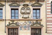 image of carving  - ancient facade of an italian villa carved and painted - JPG