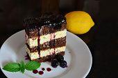 picture of sponge-cake  - Cocoa sponge cake with lemon cream and blueberry sauce over dark background - JPG