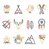 image of wigwams  - Vector tribal colorful icon set in flat simple line style indian native american culture - JPG