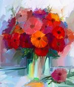 picture of vase flowers  - Still life a bouquet of flowers - JPG