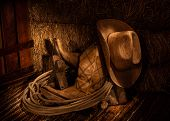 picture of cowboys  - Cowboy Boot and Cowboy Hat in the Hay Loft - JPG