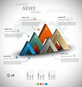 image of arrowhead  - Business infographic template with five 3D arrowheads - JPG