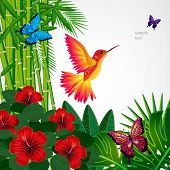stock photo of tropical birds  - Tropical floral design background with bird - JPG