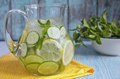 image of pitcher  - Fruit water with lemon, lime, cucumber and mint in glass pitcher