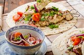 pic of souvlaki  - Turkey kebab with parsley salsa kebab grilled delicious salsa - JPG