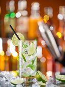 stock photo of mojito  - fresh mojito drink on bar desk - JPG
