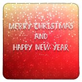 stock photo of merry christmas text  - Beautiful Merry Christmas and Happy New Year red congratulation vector inbitation party card with white frame poster with snowflakes and hand drawn text - JPG