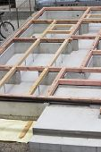 stock photo of foundation  - foundation construction foundation works in residential area in Tokyo  - JPG
