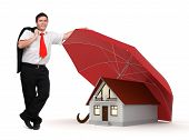 House - Business Man - Red Umbrella