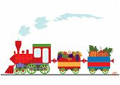picture of aubergines  - vector illustration with retro locomotive and pumpkins grapes and aubergine - JPG