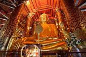 Big Golden Buddha Image In Wat Pha Nan Cheng Temple, Ayutthaya,thailand