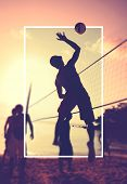 stock photo of volleyball  - Beach Volleyball at sunset Playing Sport Concept - JPG