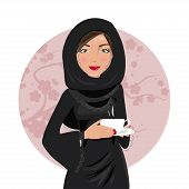 image of national costume  - Muslim woman in national costume holding coffee in hand - JPG