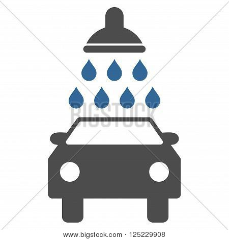 poster of Car Wash vector icon. Car Wash icon symbol. Car Wash icon image. Car Wash icon picture. Car Wash pictogram. Flat cobalt and gray car wash icon. Isolated car wash icon graphic.