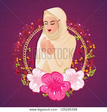 Religious Muslim Woman reading Namaz (Islamic Prayer) in beautiful flowers decorated frame for Holy