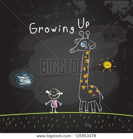 Kids growing up conceptual vector illustration. Girl with giraffe, chalk on blackboard doodle style