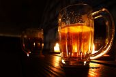 beer in dark room