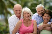 Portrait of senior couples smiling
