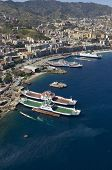 ferry by the dock in messina arbor from above, sicily, italy