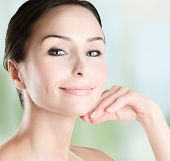stock photo of beautiful face  - Beautiful Woman Face closeup - JPG