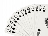 stock photo of playing card  - all the spades isolated on white background - JPG