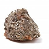 stock photo of mica  - Chunk of Mica or Quartz rock from low perspective isolated on white - JPG