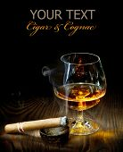 stock photo of cigar  - Cigar And Cognac - JPG