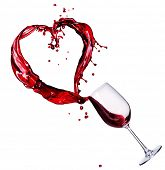 image of wine-glass  - Glass of Red Wine Abstract Heart Splash - JPG