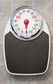 image of linoleum  - empty bathroom scale setting on linoleum floor - JPG