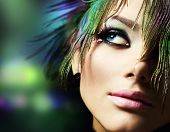 foto of beautiful women  - Beautiful Fashion Woman Face - JPG
