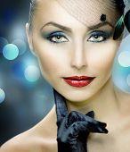 Beautiful Stylish Young Woman's face.Perfect makeup