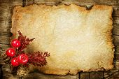 picture of holly  - Christmas decorations on the Old Paper - JPG