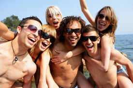 pic of beach party  - Group of friends having fun at the beach - JPG