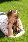 Teenage Girl In Grass